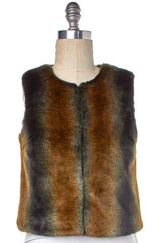 TRINA TURK Brown Black Faux Fur Basic Jacket Vest