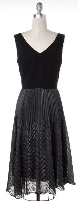 TRINA TURK Black Gray Metallic Colorblock Sleeveless Sheath Dress
