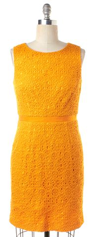 TRINA TURK Orange Embroidered Sheath Knit Cotton Dress