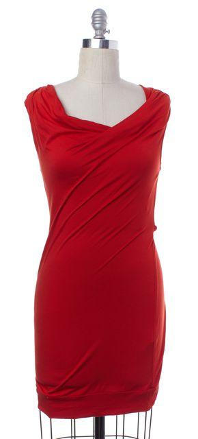 TRINA TURK Red Sleeveless Draped Stretch Dress