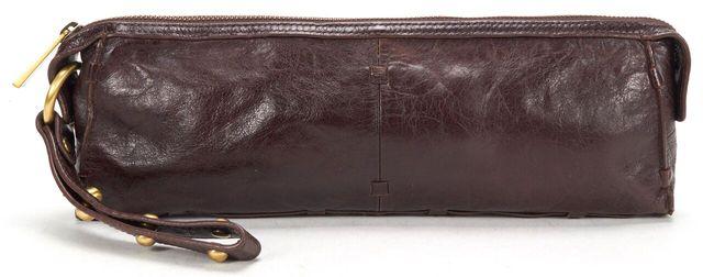 TRINA TURK Brown Leather Textured Long Clutch Wristlet Bag