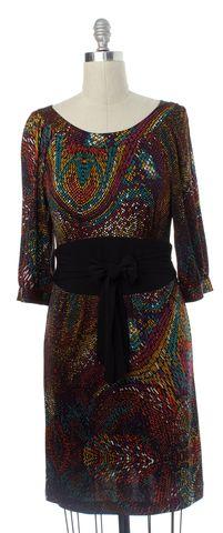 TRINA TURK Purple Orange Multi Geometric Silk Sheath Dress