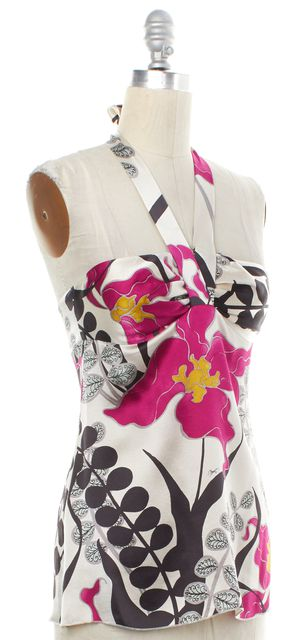 TRINA TURK Ivory Pink Floral Silk Halter Top Fits Like a 4