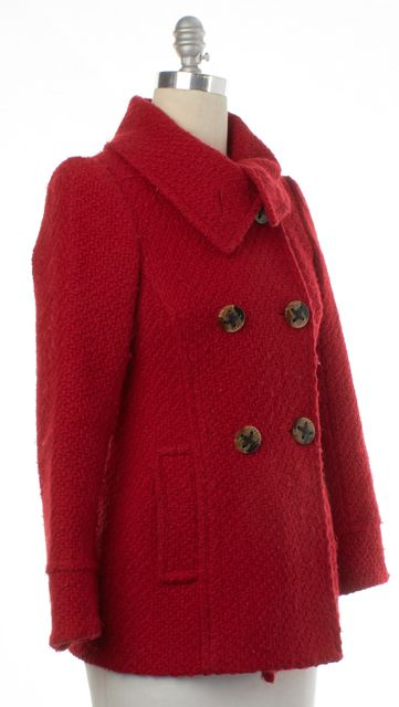 TRINA TURK Red Tweed Double Breasted Coat