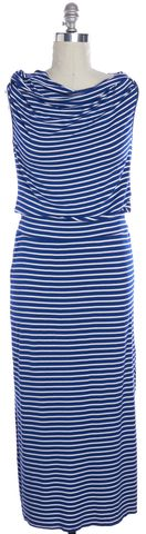 TRINA TURK Navy Blue White Striped Sleeveless Hooded Maxi Dress Size M