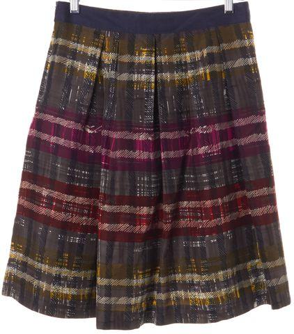 TRINA TURK Brown Multi-color Plaid Silk Pleated A-Line Skirt