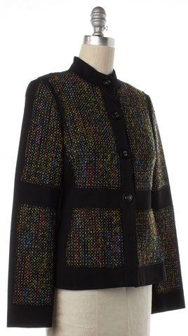TRINA TURK Black Multi Color Tweed Wool Basic Jacket Fits Like a 4