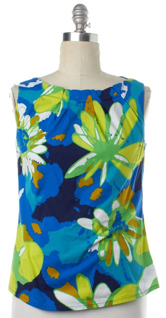 TRINA TURK Blue Floral Print Sleeveless Top