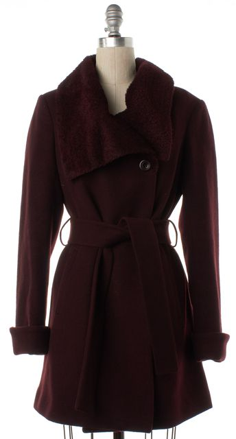 TRINA TURK Burgundy Red Wool Double Button Coat