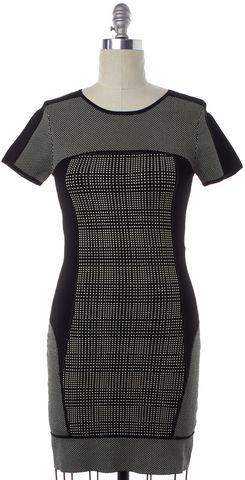 TRINA TURK Black White Geometric Short Sleeve Bodycon Dress