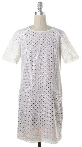 TRINA TURK White Ivory Eyelet Short Sleeve Shift Dress
