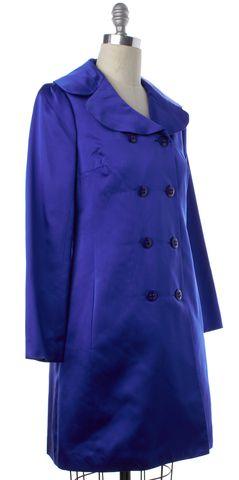 TRINA TURK Royal Blue Silk Double Breasted Coat