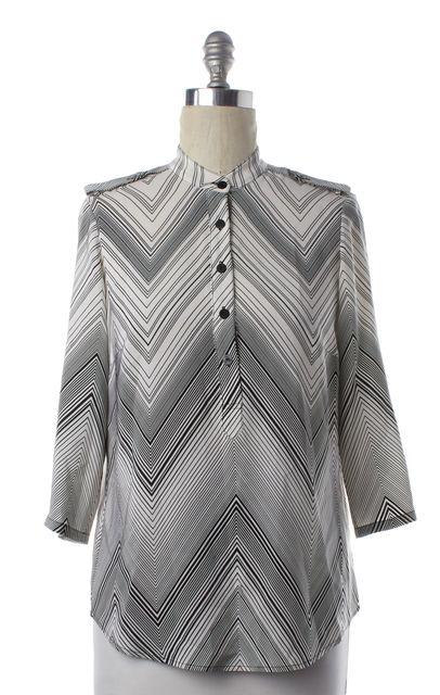 TRINA TURK White Black Zig Zag Long Sleeve Silk Blouse