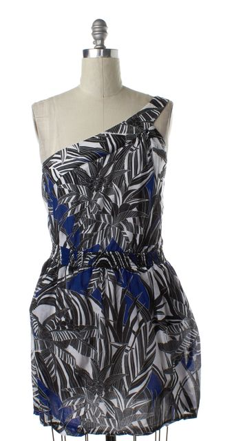 TRINA TURK Black White Blue Abstract Print One Shoulder Dress