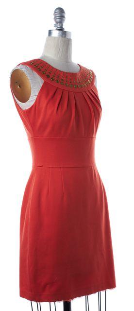 TRINA TURK Orange Embellished Sleeveless Pencil Dress Fits Like a 4
