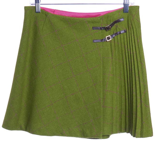 TRINA TURK Green Plaids Pleated Wool A-Line Skirt
