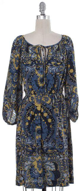 TRINA TURK Blue Abstract Print Silk Blouson Dress