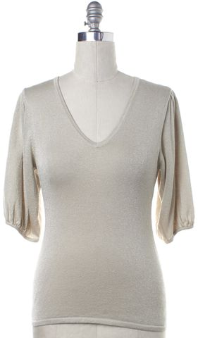 TRINA TURK Metallic Beige Knit V-Neck 3/4 Sleeve Top