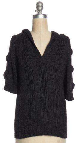TRINA TURK Gray V Neck Hooded Sweater
