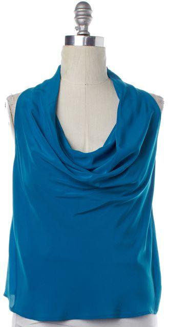 TRINA TURK Blue Silk Cowl Neck Sleeveless Blouse Top