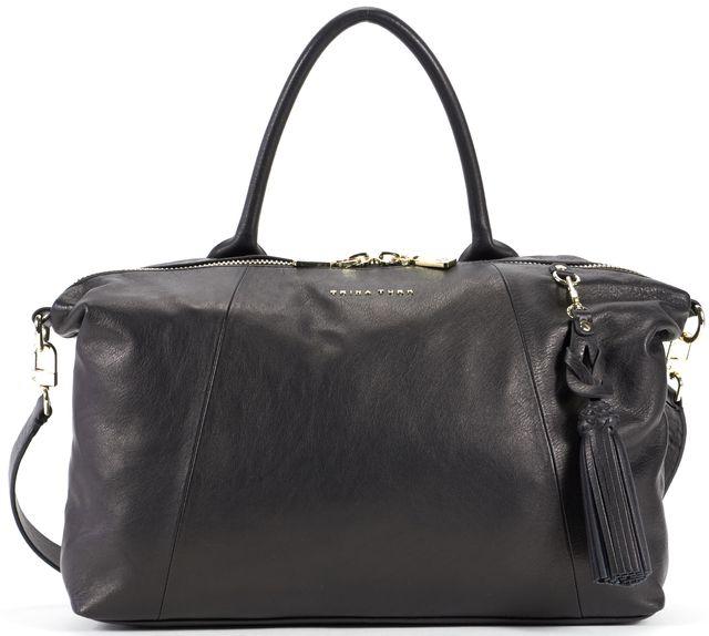 TRINA TURK Black Leather Tassel Embellishment Saratoga Tote Bag