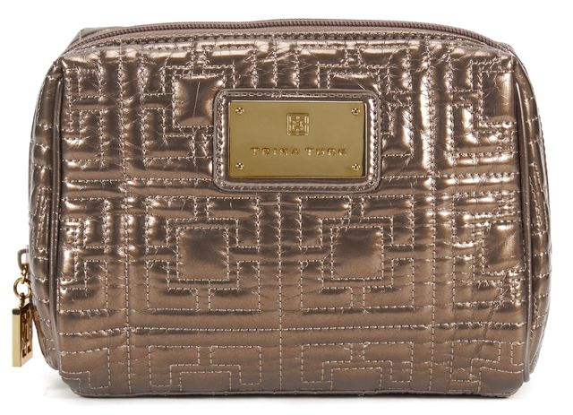 TRINA TURK Gold Quilted Vinyl Cosmetic Case