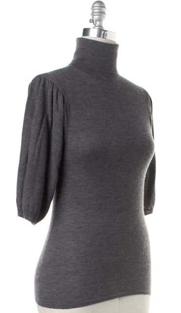 TRINA TURK Gray Short Sleeve Turtleneck Sweater Fits Like a 6