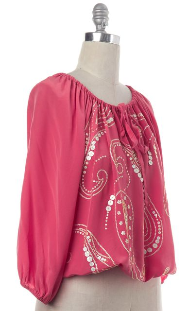 TRINA TURK Pink White Sequin Embellished Silk Blouse Fits Like a L