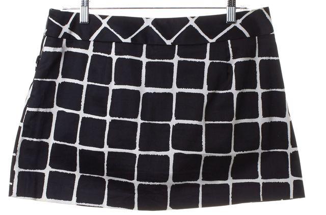 TRINA TURK Black White Check A-Line Mini Skirt