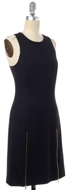 TRINA TURK Black Jersey Sleeveless Gold Zipper Detail Sheath Dress