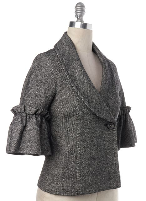 TRINA TURK Gray Tweed Wool Flare Sleeve Blazer