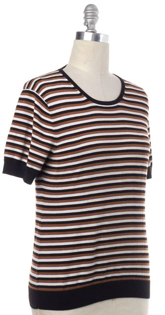 TRINA TURK Black Brown White Striped Knit Top