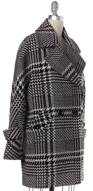 TRINA TURK Black White Houndstooth Wool Blend Coat