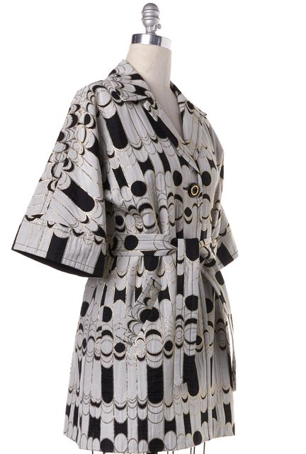 TRINA TURK White Black Gold Abstract Pattern Embroidered Coat