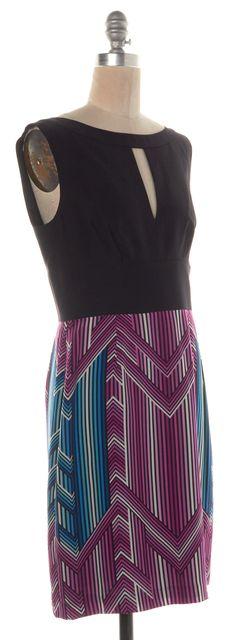 TRINA TURK Black Purple Blue Abstract Silk Keyhole Sheath Dress