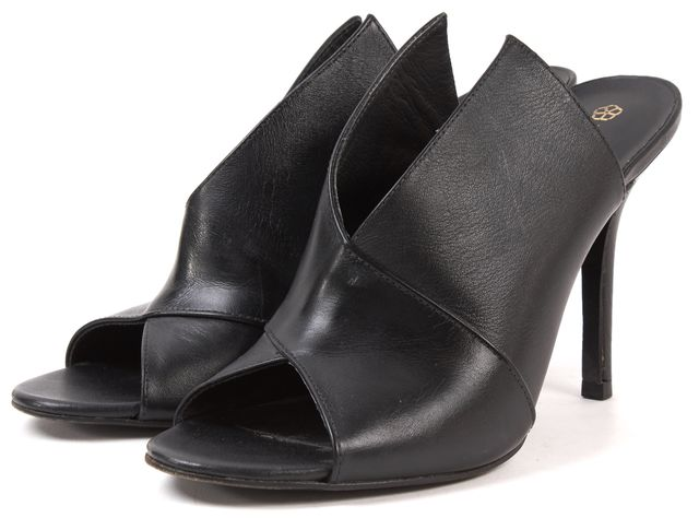 TRINA TURK Black Leather Open Toe Mules High Heels