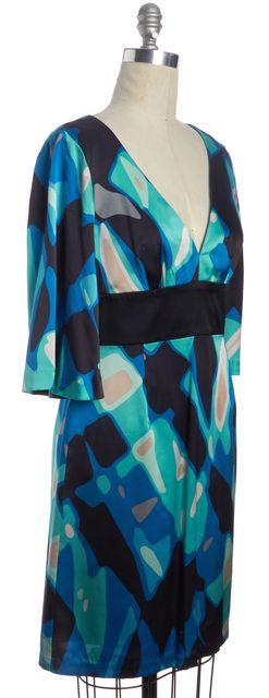 TRINA TURK Aqua Blue Black Abstract Print Casual Silk V-Neck Shift Dress
