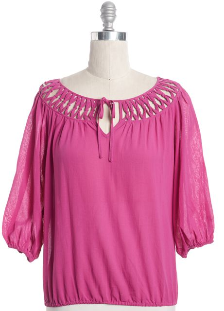TRINA TURK Pink Cut Out Blouse