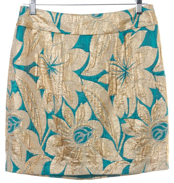 TRINA TURK Gold Metallic Teal ColorBlock Floral Print Mini Skirt