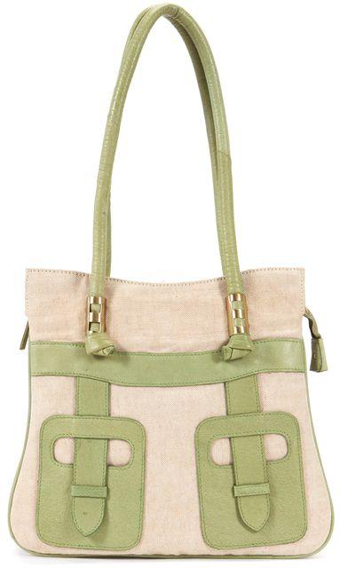 TRINA TURK Beige Green Canvas Leather Trim Tote Shoulder Bag