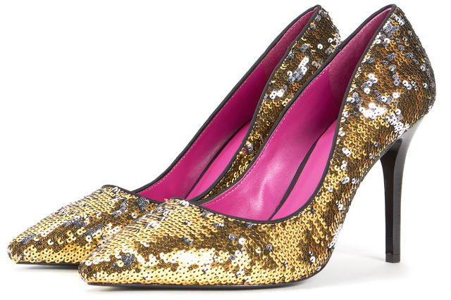 TRINA TURK Gold Silver Sequin Pointed Toe Pump Heels