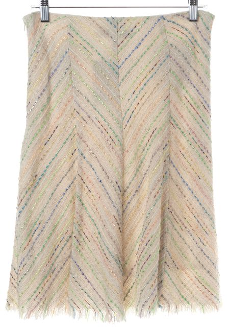 TRINA TURK Ivory Green Purple Orange Tweed Casual A-Line Fringe Skirt
