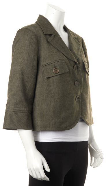 TRINA TURK Brown Wool Pocket Front 3/4 Sleeve Cropped Basic Jacket