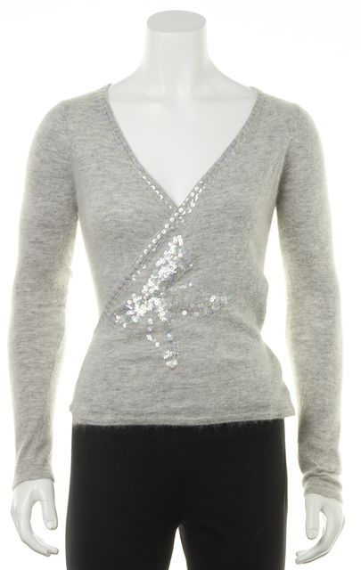 TRINA TURK Gray Clear Sequin Embellished Wrap Sweater Top
