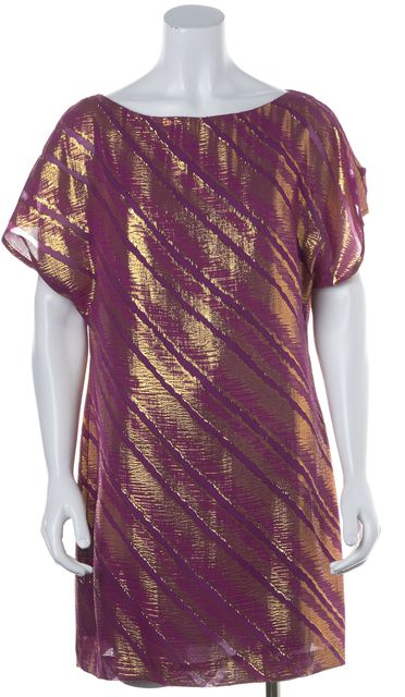 TRINA TURK Purple Gold Silk Sheath Dress