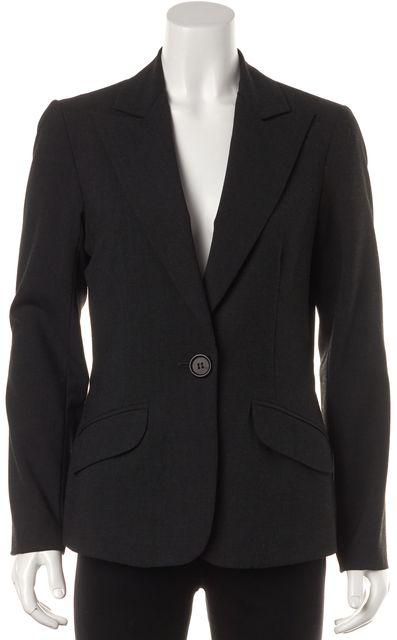 TRINA TURK Charcoal Gray One Button Blazer Jacket