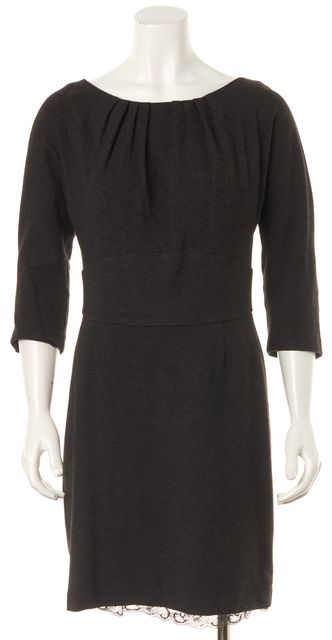 TRINA TURK Gray Stretch Jersey 3/4 Sleeve Sheath Dress