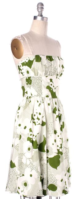 TRINA TURK Green White Floral Printed Cotton Silk Strapless Fit Flare Dress