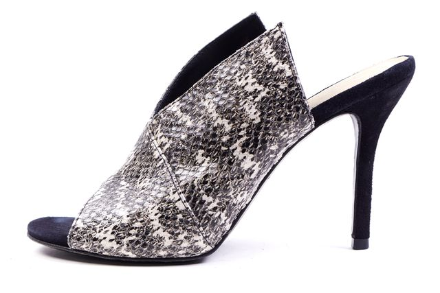 TRINA TURK Black White Snake Embossed Open-Toe Slide On Sandal Heels