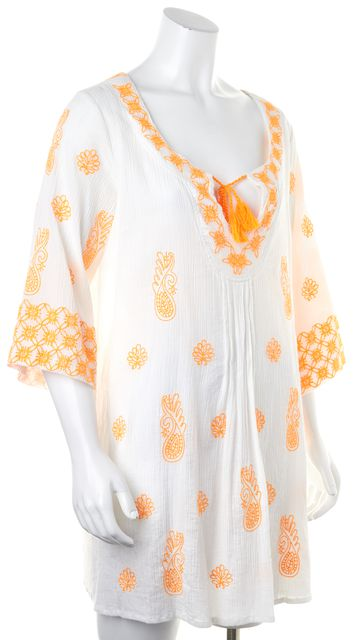 TRINA TURK White Orange Floral Embroidered Sheer Tunic Dress